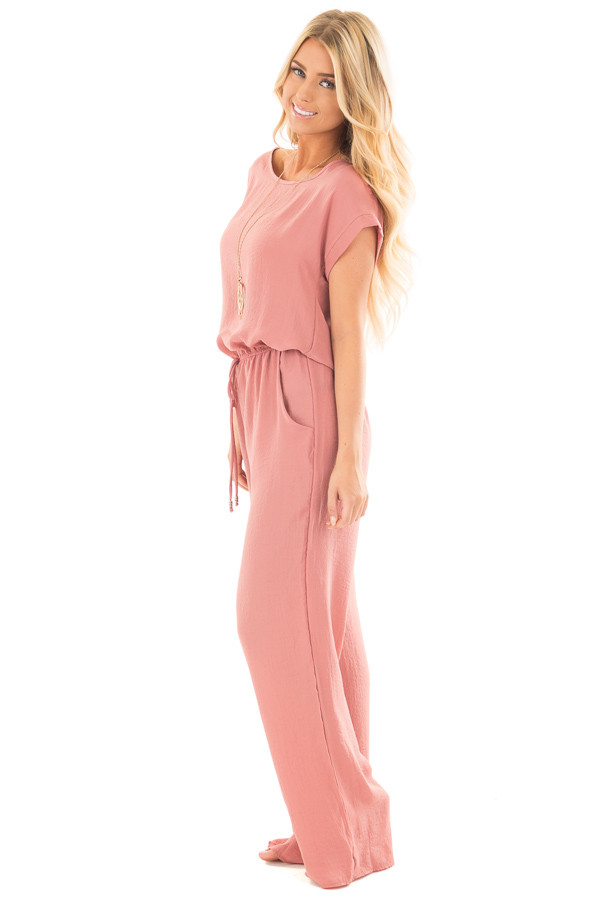 Light Coral Loose Fit Jumper with Tied Waist and Cuffed Sleeves side full body