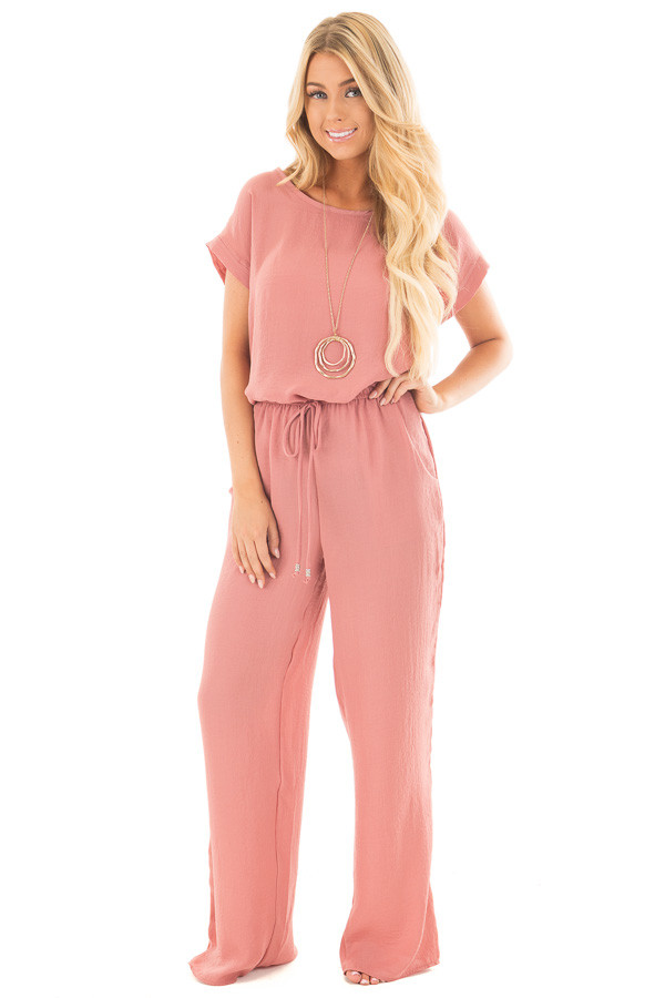 Light Coral Loose Fit Jumper with Tied Waist and Cuffed Sleeves front full body