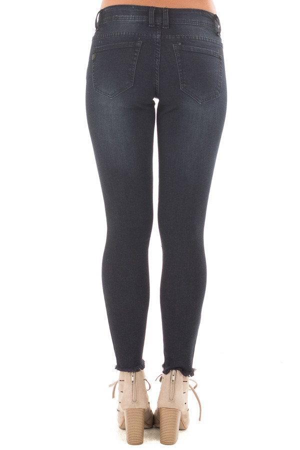 Black Denim Cropped Skinny Jeans with Distressed Knee and Raw Edge back view