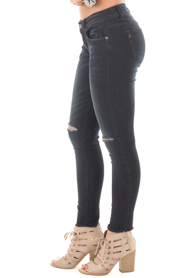 Black Denim Cropped Skinny Jeans with Distressed Knee and Raw Edge side right leg