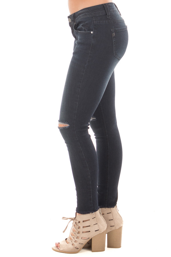 Black Denim Cropped Skinny Jeans with Distressed Knee and Raw Edge side left leg