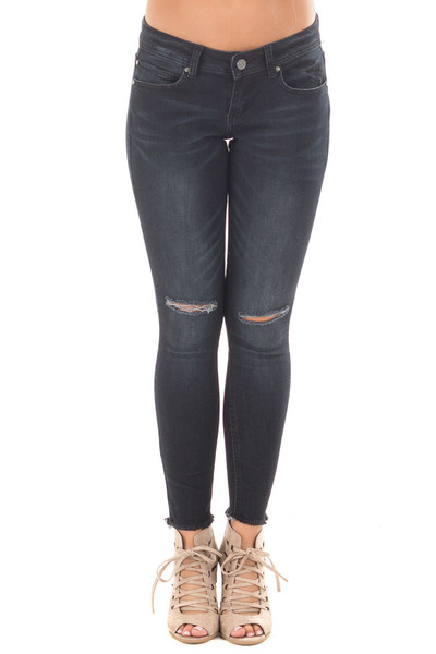 Black Denim Cropped Skinny Jeans with Distressed Knee and Raw Edge front view