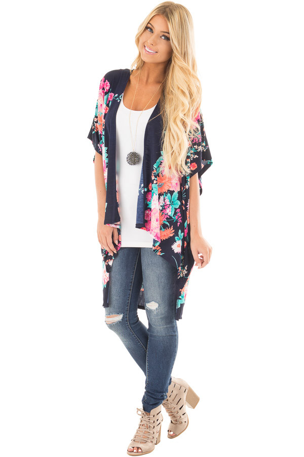 Navy Floral Print Short Sleeve High Low Kimono front full body