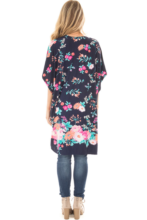 Navy Floral Print Short Sleeve High Low Kimono back full body
