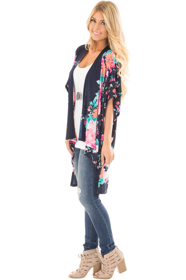 Navy Floral Print Short Sleeve High Low Kimono side full body