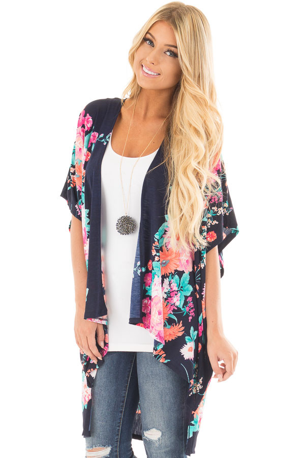 Navy Floral Print Short Sleeve High Low Kimono front close up