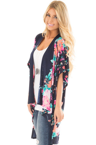 Navy Floral Print Short Sleeve High Low Kimono side close up