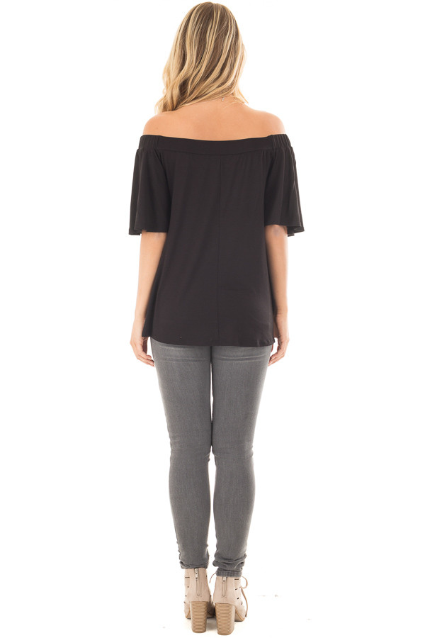Black Off the Shoulder Top with Flowy Sleeves back full body