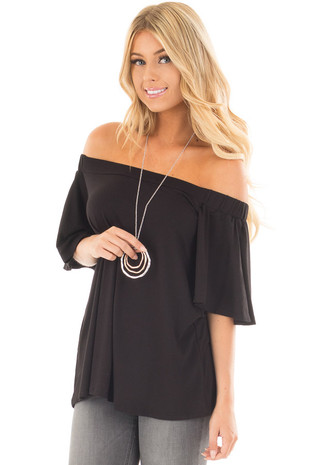 Black Off the Shoulder Top with Flowy Sleeves front close up