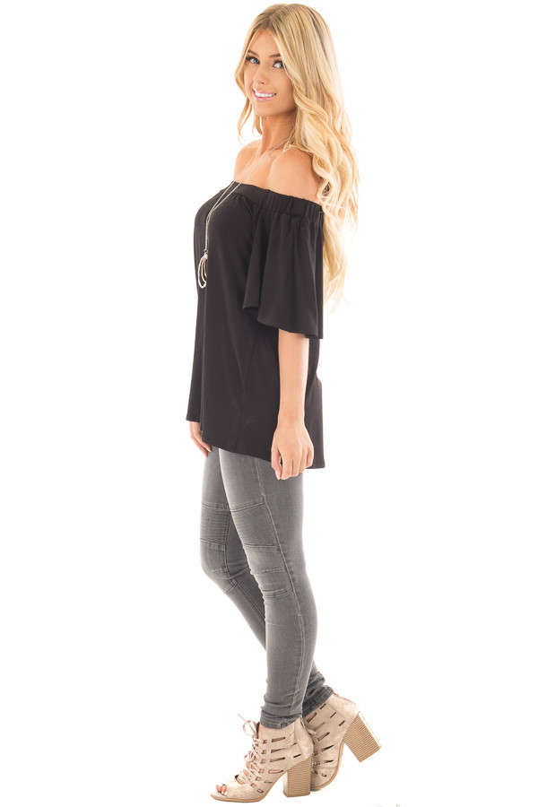 Black Off the Shoulder Top with Flowy Sleeves side full body
