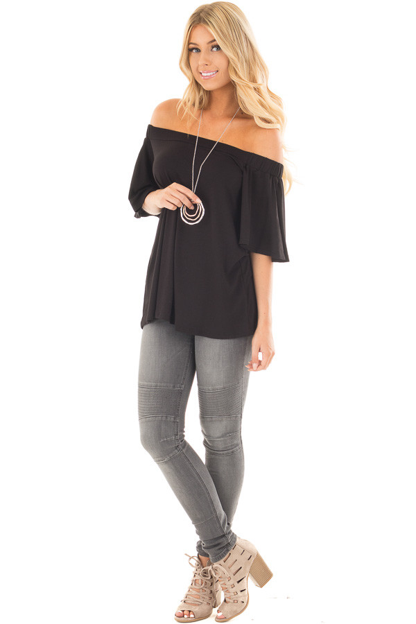 Black Off the Shoulder Top with Flowy Sleeves front full body