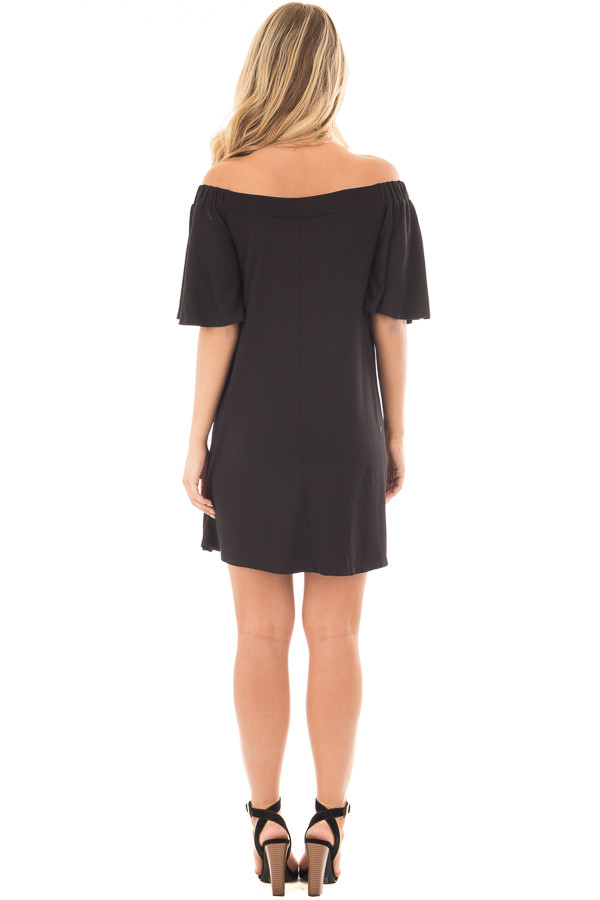 Black Off Shoulder Swing Dress with Bell Sleeves back full body