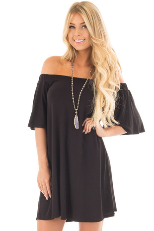 Black Off Shoulder Swing Dress with Bell Sleeves front close up
