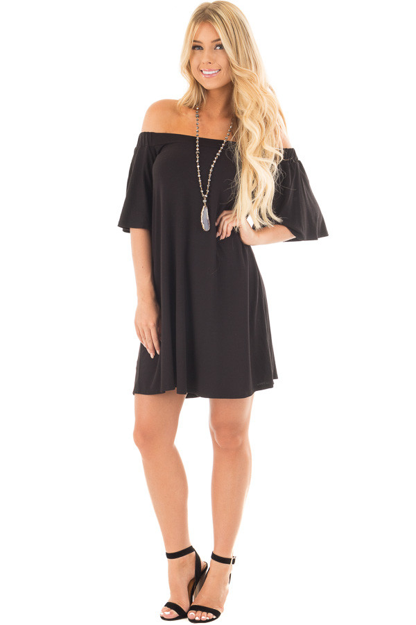 Black Off Shoulder Swing Dress with Bell Sleeves front full body
