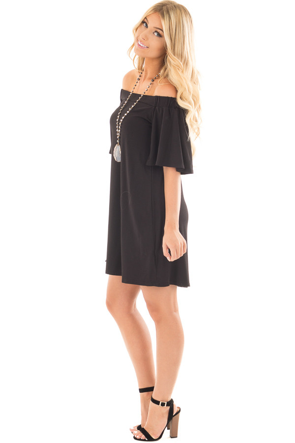 Black Off Shoulder Swing Dress with Bell Sleeves side full body