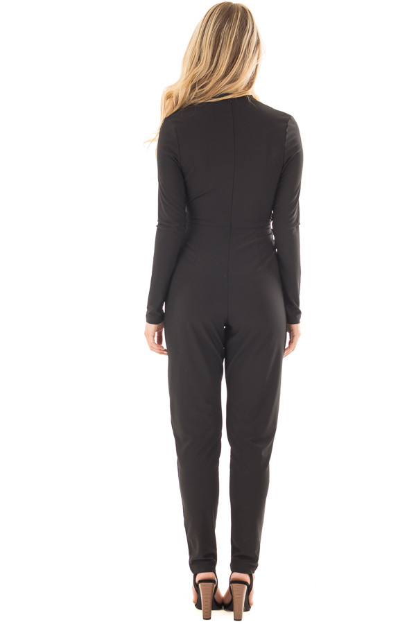 Black Long Sleeve Jumper with Pleated V Neck and Waist Tie back full body