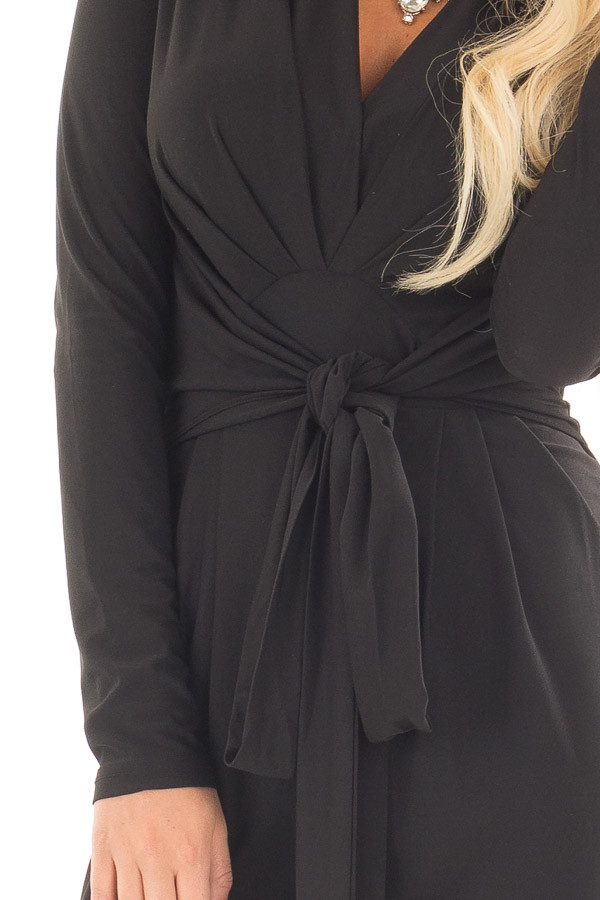 Black Long Sleeve Jumper with Pleated V Neck and Waist Tie front detail