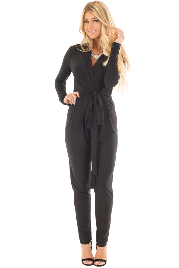 Black Long Sleeve Jumper with Pleated V Neck and Waist Tie front full body