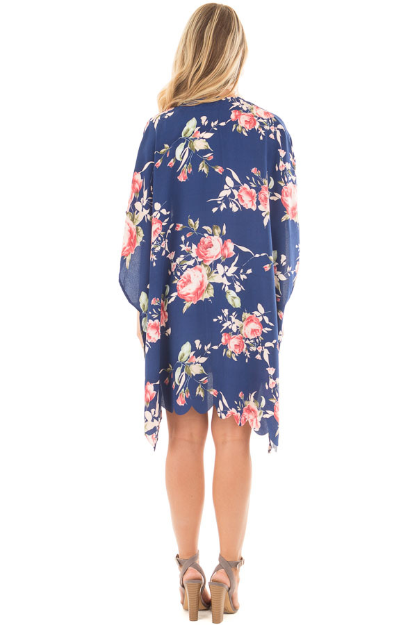 Navy and Blush Floral Print Scalloped High Low Kimono back full body