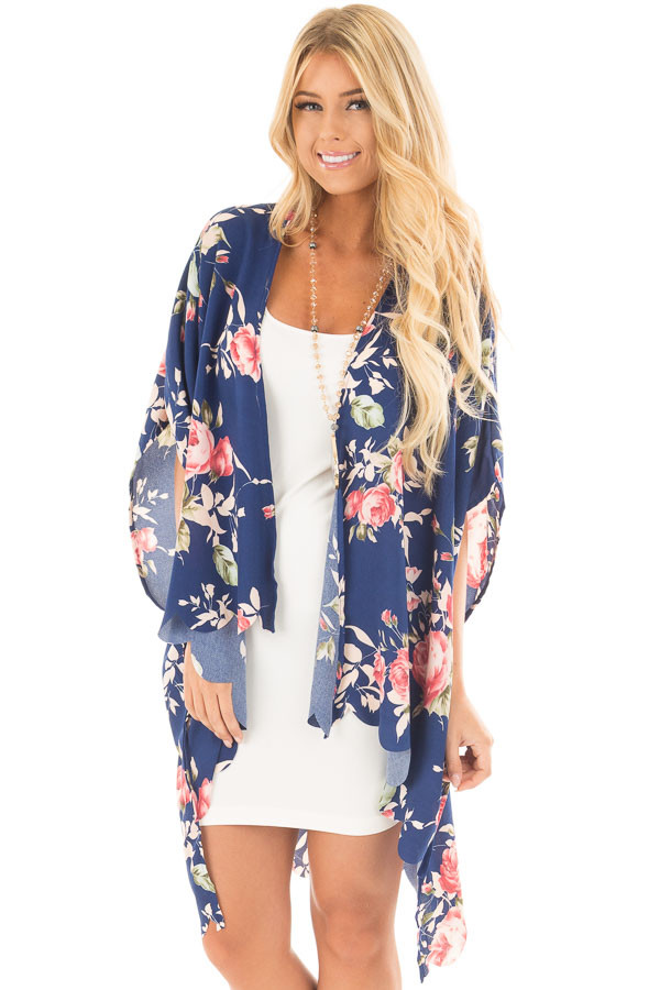 Navy and Blush Floral Print Scalloped High Low Kimono front close up