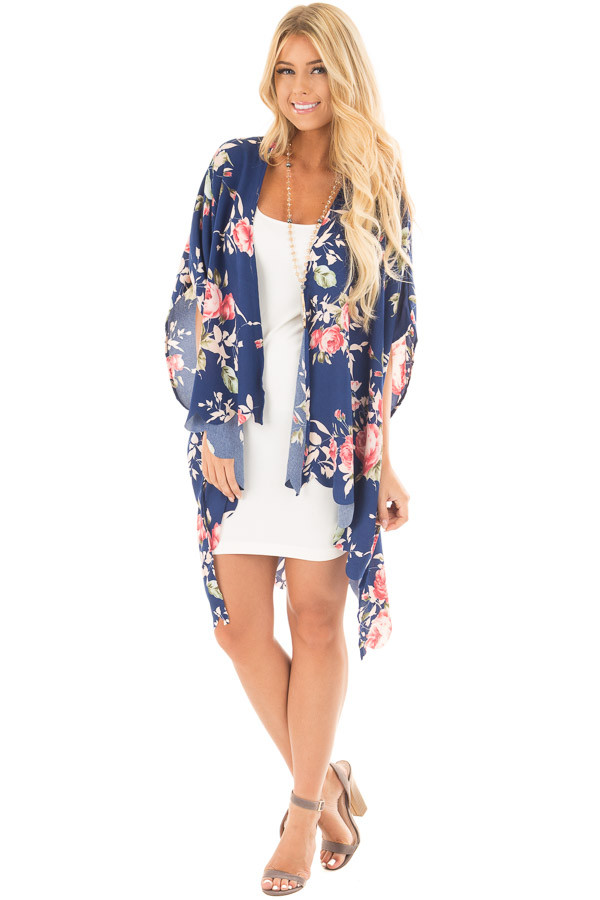 Navy and Blush Floral Print Scalloped High Low Kimono front full body