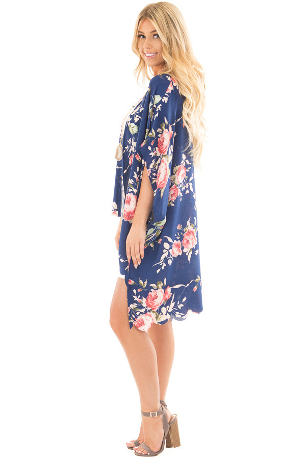 Navy and Blush Floral Print Scalloped High Low Kimono side full body