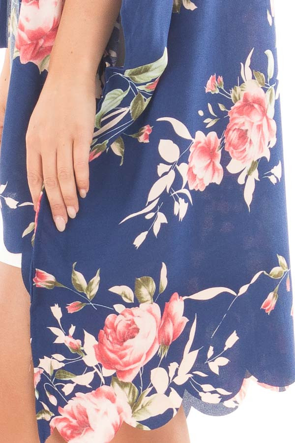 Navy and Blush Floral Print Scalloped High Low Kimono side detail