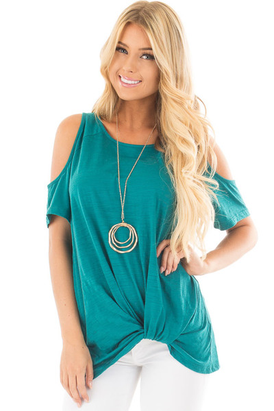 Teal Cold Shoulder Top with Side Twist Detail front close up