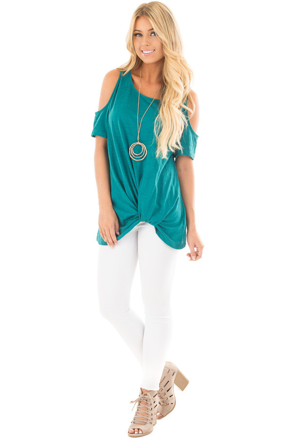 Teal Cold Shoulder Top with Side Twist Detail front full body
