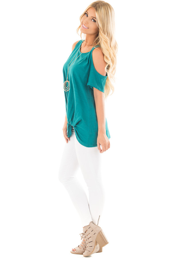 Teal Cold Shoulder Top with Side Twist Detail side full body