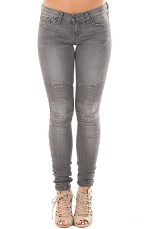 Stormy Grey Skinny Denim with Moto Stitching Details front
