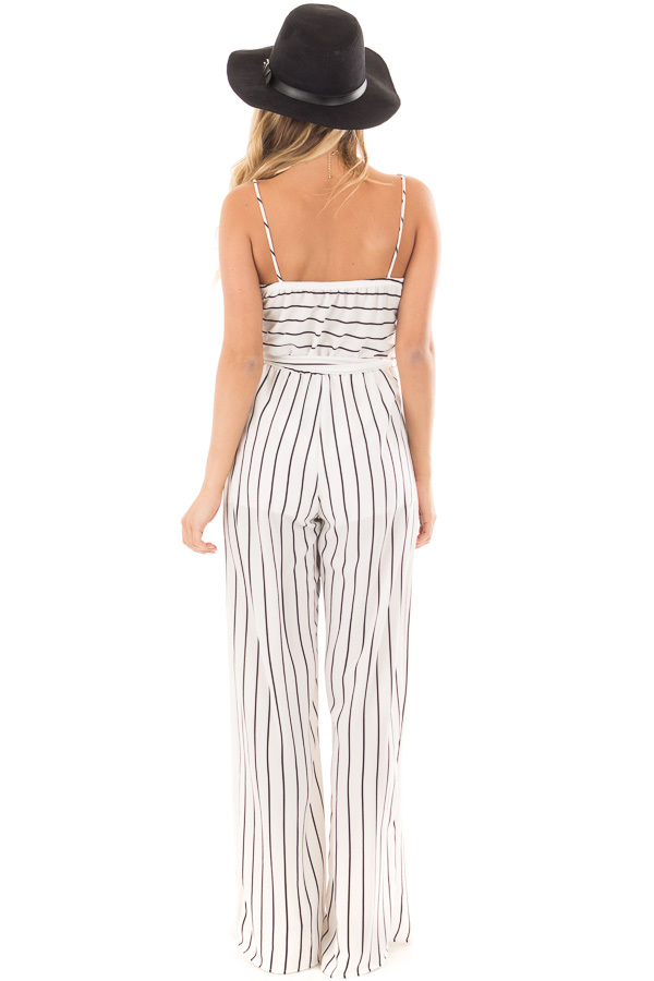 Ivory and Black Striped Jumper with Crossover V Neck and Waist Tie back full body