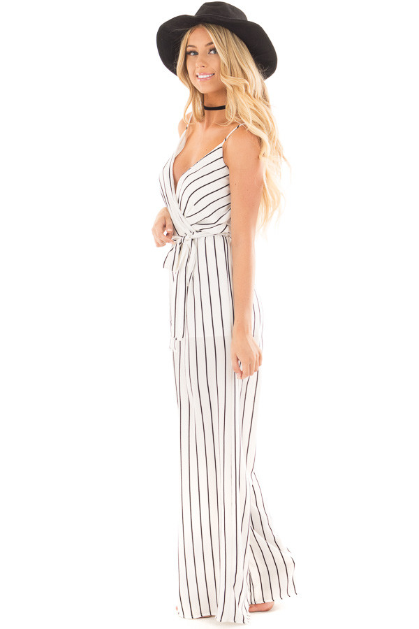 Ivory and Black Striped Jumper with Crossover V Neck and Waist Tie side full body