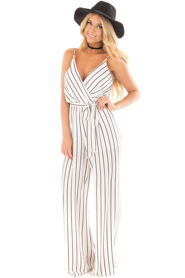 Ivory and Black Striped Jumper with Crossover V Neck and Waist Tie front full body