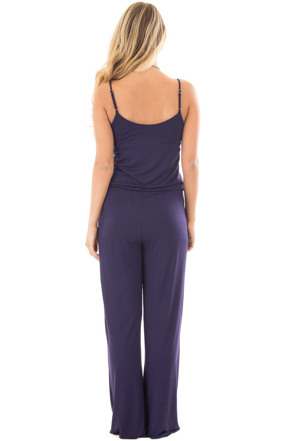 Navy Sleeveless Jumpsuit with Elastic Waist Tie back full body