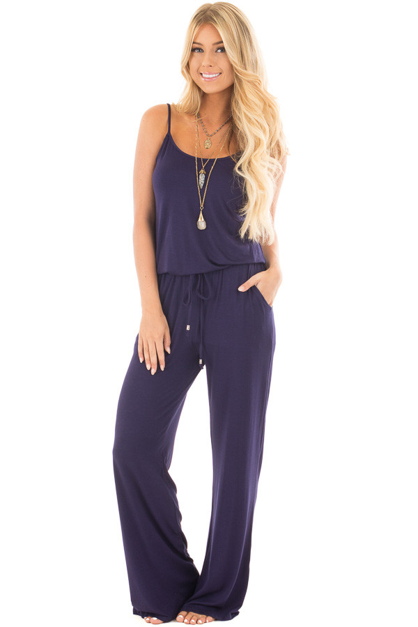 Navy Sleeveless Jumpsuit with Elastic Waist Tie front full body