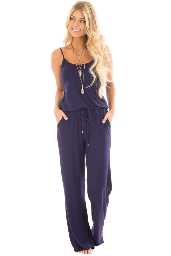 Navy Sleeveless Jumpsuit with Elastic Waist Tie front front full body