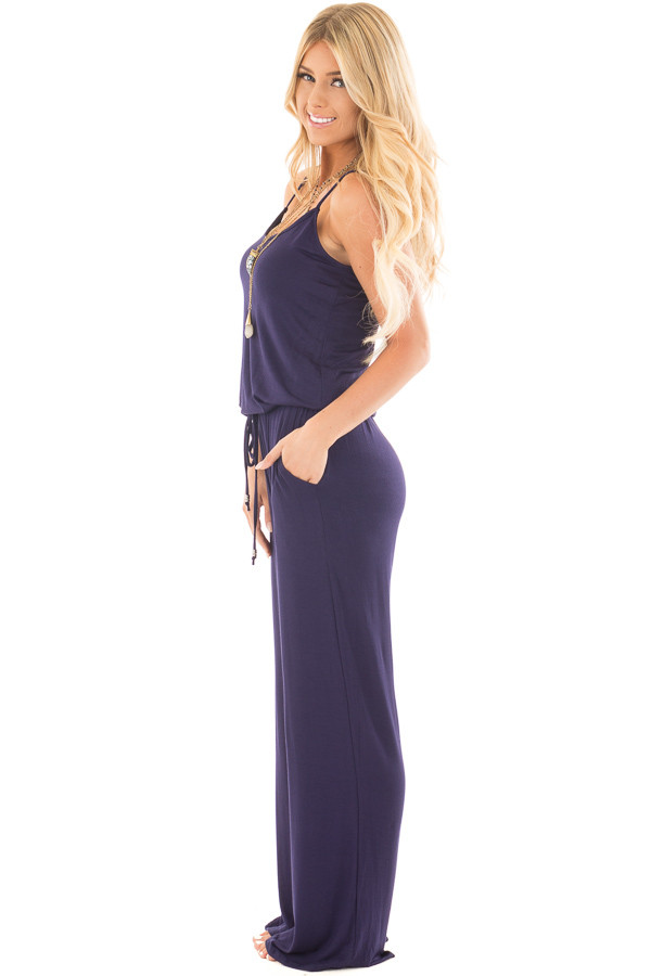 Navy Sleeveless Jumpsuit with Elastic Waist Tie side full body