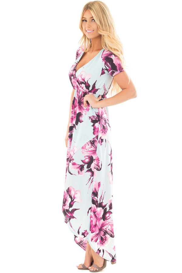 Sky Blue Floral Print Short Sleeve Hi Low Maxi Dress side full body