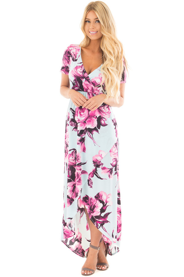 Sky Blue Floral Print Short Sleeve Hi Low Maxi Dress front full body
