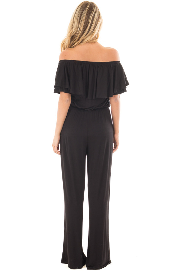 Black Off Shoulder Jumpsuit with Overlay Detail back full body
