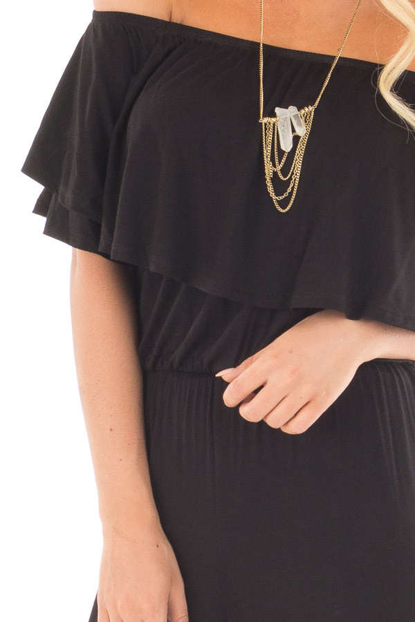 Black Off Shoulder Jumpsuit with Overlay Detail front detail