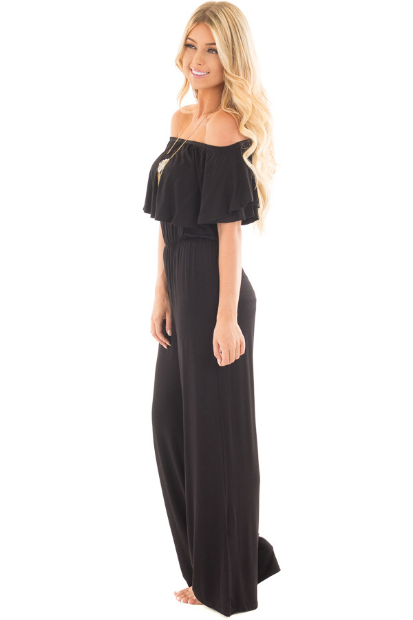Black Off Shoulder Jumpsuit with Overlay Detail side full body