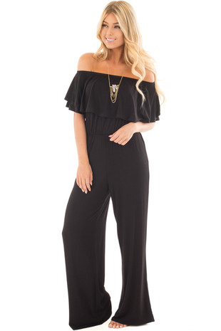 Black Off Shoulder Jumpsuit with Overlay Detail front full body