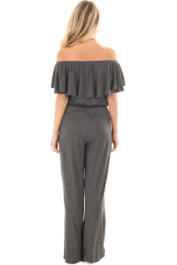 Charcoal Off Shoulder Jumpsuit with Overlay Detail back full body