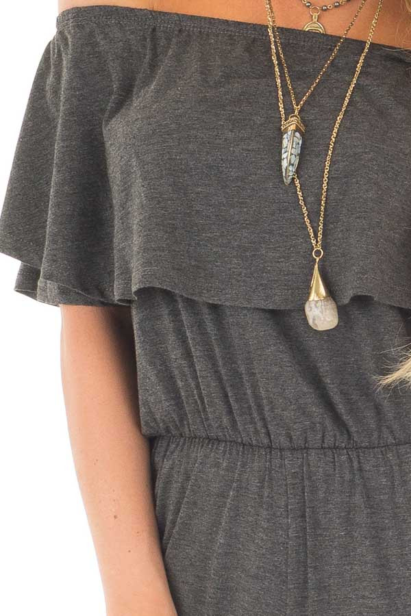Charcoal Off Shoulder Jumpsuit with Overlay Detail front detail