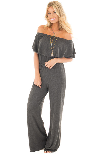 Charcoal Off Shoulder Jumpsuit with Overlay Detail front full body