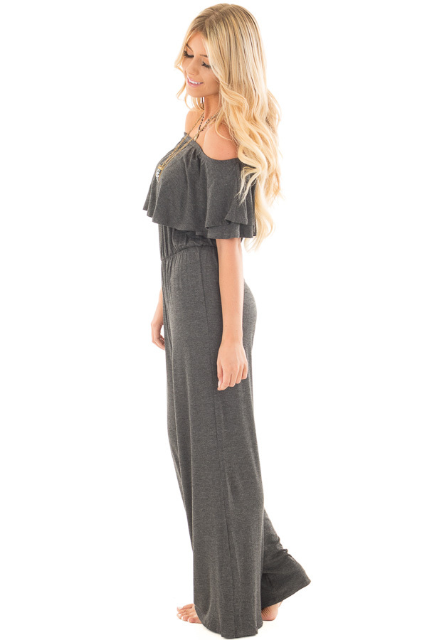 Charcoal Off Shoulder Jumpsuit with Overlay Detail side full body