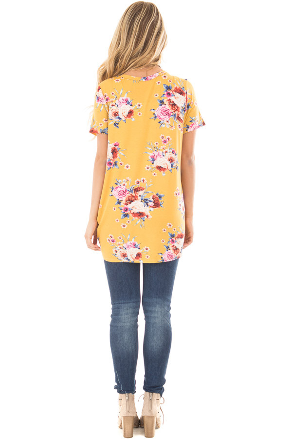 Marigold Floral Print Tee Shirt with Twist Front Detail back full body
