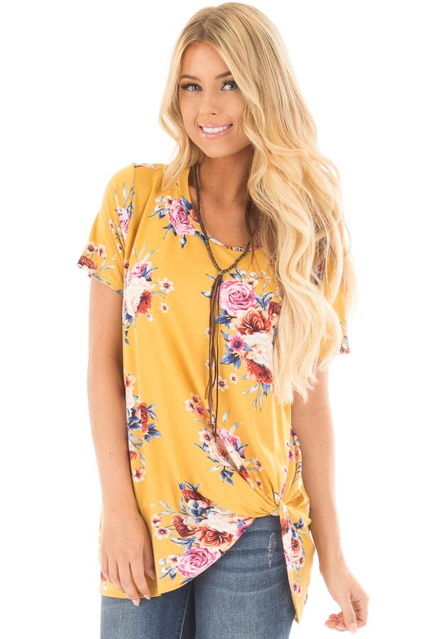 Marigold Floral Print Tee Shirt with Twist Front Detail front close up